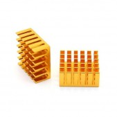 5pcs Gold Slotted Aluminum Heat Sink (22x22x10mm)
