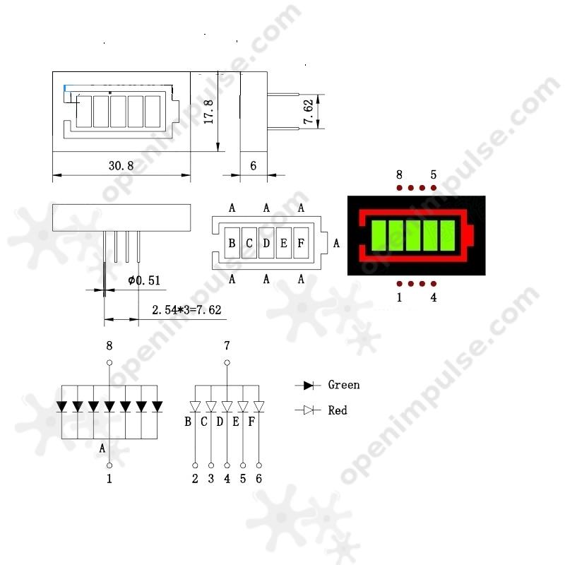 2pcs battery indicator ledbar