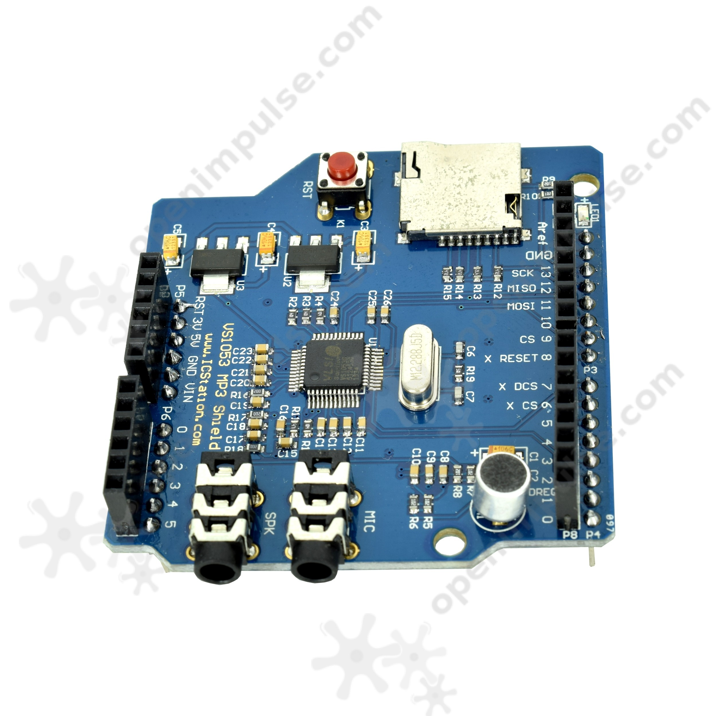 Vs1053 Shield For Arduino With Sd Card Slot And Microphone Open Circuit 1 3