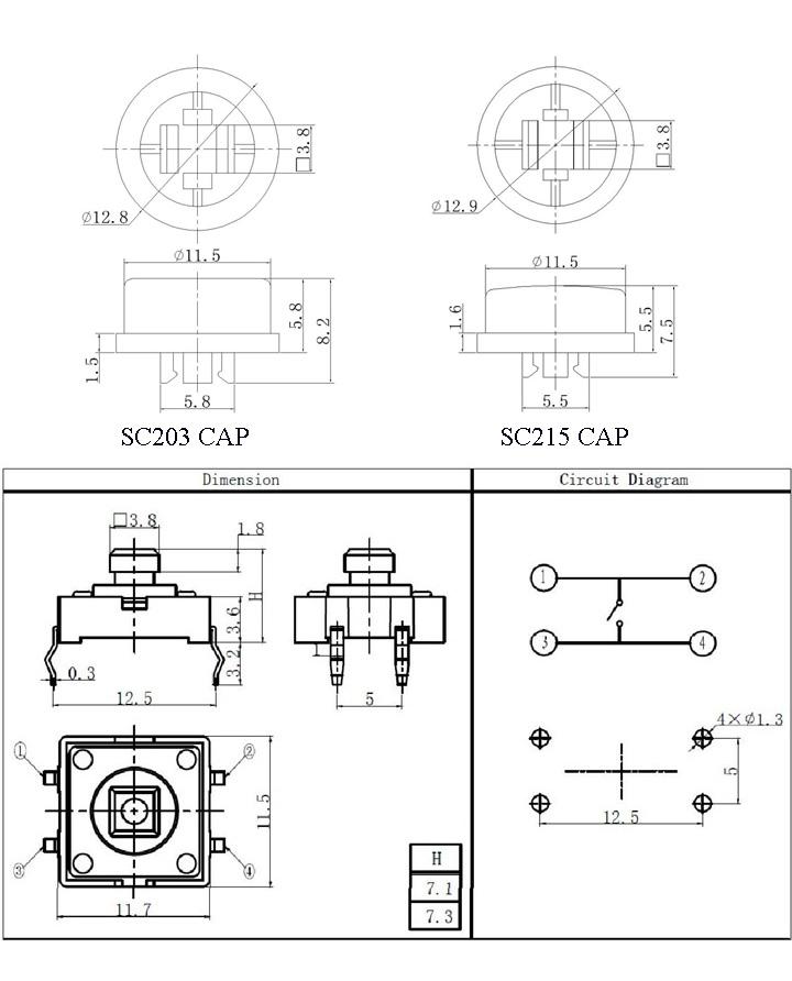 10pcs push button  12x12 mm
